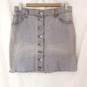 Levi's Denim Raw Hem Button Down Skirt